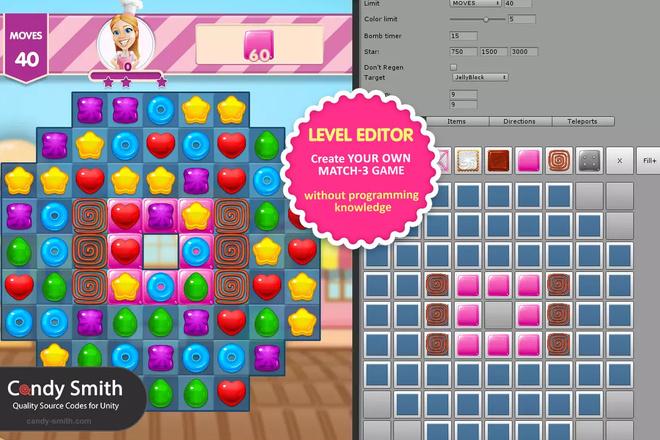 Готовый Проект Match 3 Sweet Sugar +UnityAds для Unity 2 - kwork.ru