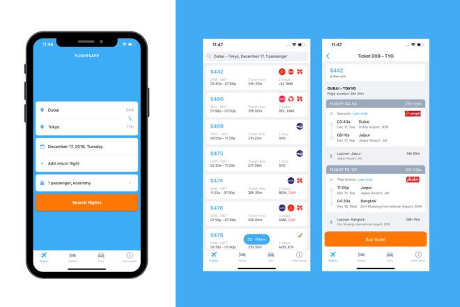 Создам travel iOS приложение для поиска авиабилетов и отелей 3 - kwork.ru