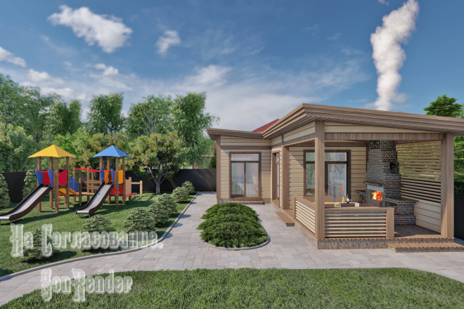 Фотореалистичная 3D визуализация экстерьера Вашего дома 4 - kwork.ru