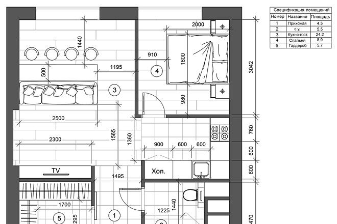 Разработка 3 вариантов планировки квартиры 7 - kwork.ru