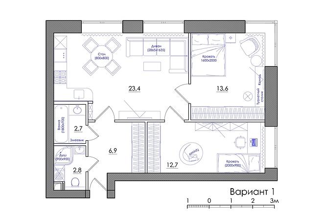 Планировка квартиры или жилого дома, перепланировка и визуализация 11 - kwork.ru