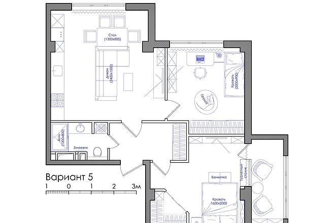 Планировка квартиры или жилого дома, перепланировка и визуализация 12 - kwork.ru
