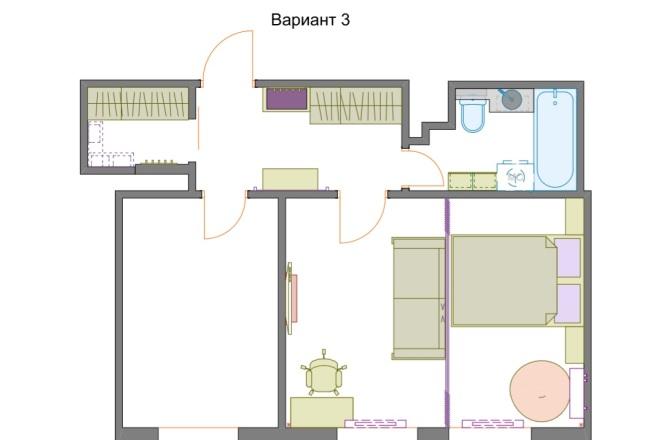 Планировочные решения. Планировка с мебелью и перепланировка 72 - kwork.ru