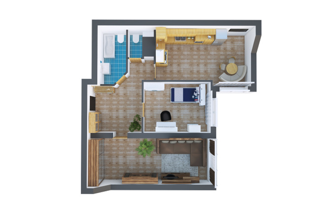 Сделаю 3д визуализацию плана для дома, квартиры 3 - kwork.ru