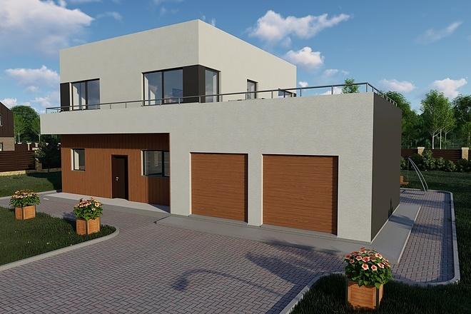 Фотореалистичная 3D визуализация экстерьера Вашего дома 149 - kwork.ru