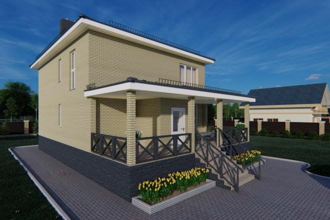 Фотореалистичная 3D визуализация экстерьера Вашего дома 74 - kwork.ru