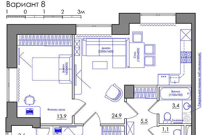 Планировка квартиры или жилого дома, перепланировка и визуализация 20 - kwork.ru