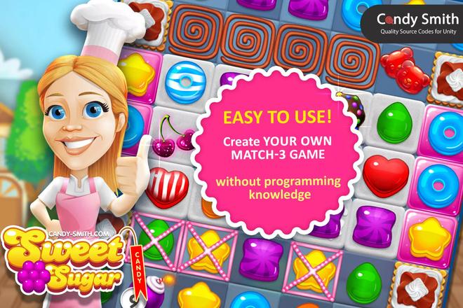 Готовый Проект Match 3 Sweet Sugar +UnityAds для Unity 5 - kwork.ru