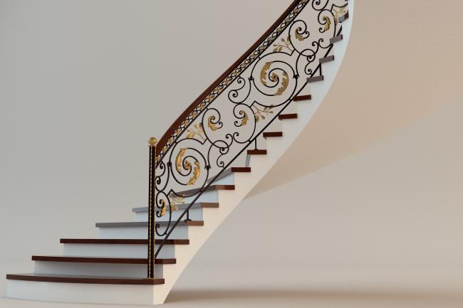 Сделаю 3d модель кованных лестниц, оград, перил, решеток, навесов 19 - kwork.ru