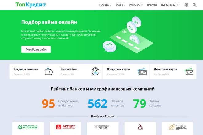 Продам сайт по выдаче займов - Топ Кредит 1 - kwork.ru
