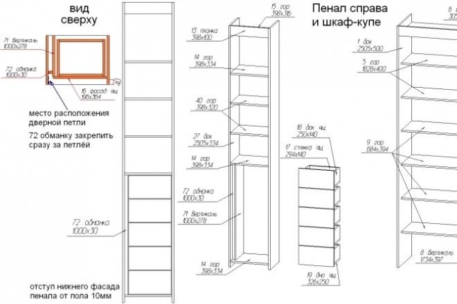 Разработаю конструкторскую документацию корпусной мебели 2 - kwork.ru