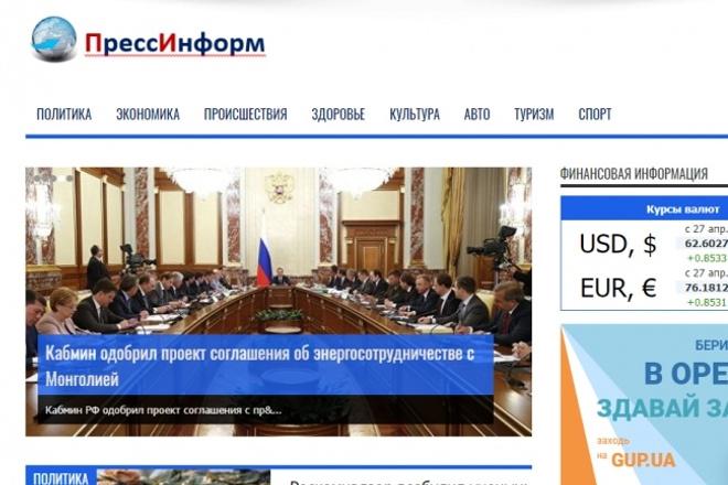 Продам автонаполняемый сайт СМИ - ПрессИнформ. Есть демо 1 - kwork.ru