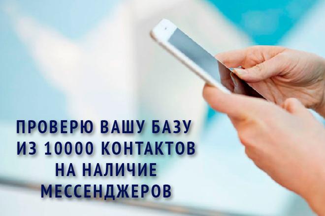 Проверю вашу базу из 10000 контактов на наличие мессенджеров 1 - kwork.ru