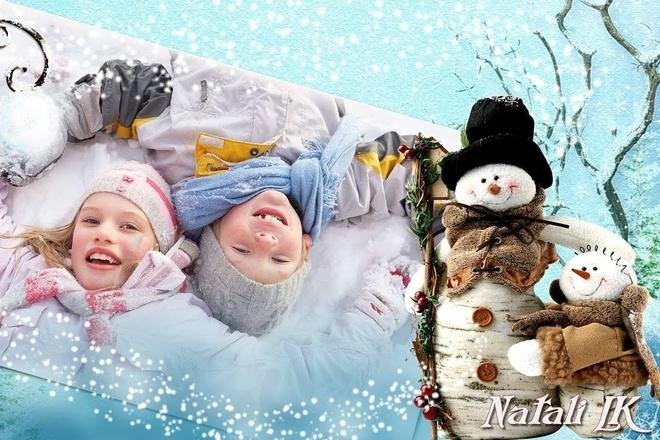 Слайд-шоу для зимних детских фотографий Скоро Новый год придёт 1 - kwork.ru