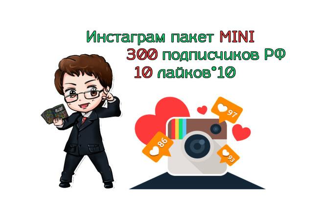 Инстаграм пакет MINI 300 подписчиков РФ + 10 лайков на 10 фото 1 - kwork.ru