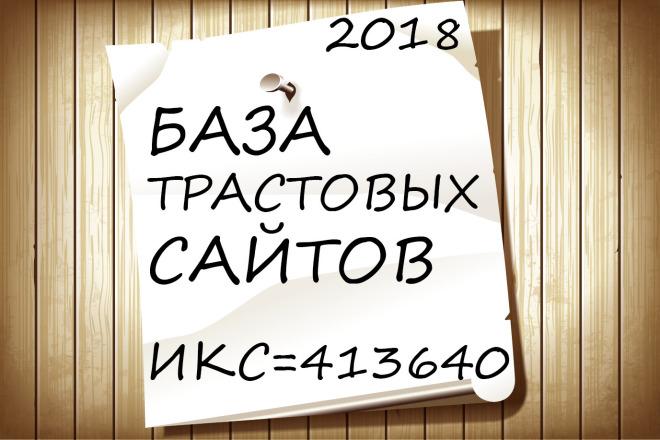 Отборная база трастовых сайтов 2019, Общий ИКС 413640 продвигайте сами 1 - kwork.ru