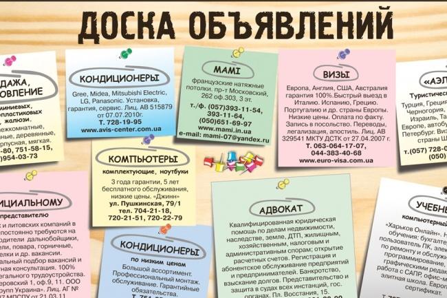 Размещу ваше объявление на 30 досках объявлений вручную 1 - kwork.ru