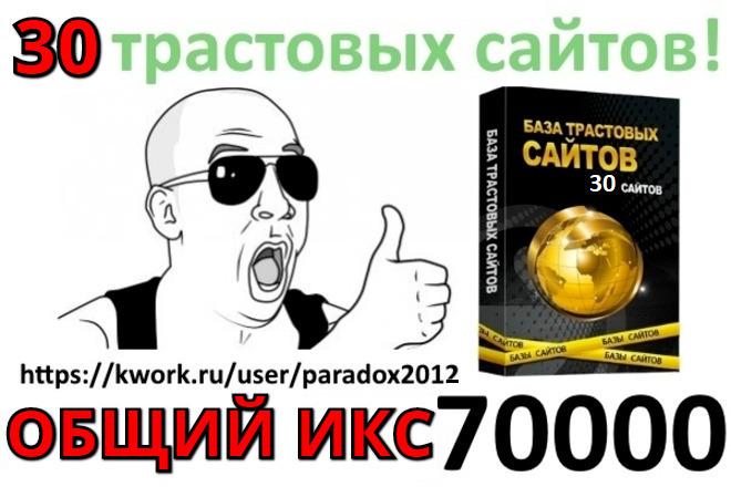 Продам базу 30 трастовых сайтов для продвижения 1 - kwork.ru