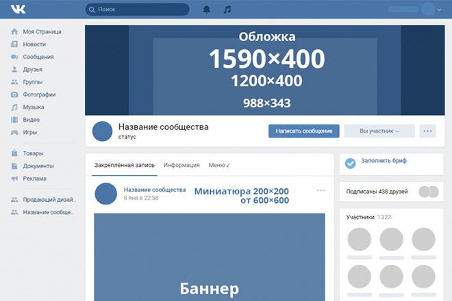 Размеры картинок для паблика для вконтакте