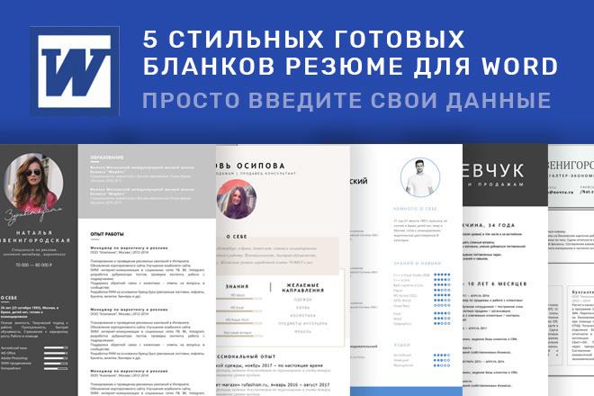 Резюме на работу, образцы 2018, бланки резюме для Word 1 - kwork.ru
