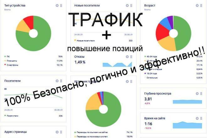100% Безопасное увеличение посещаемости Вашего сайта + рост позиций 1 - kwork.ru