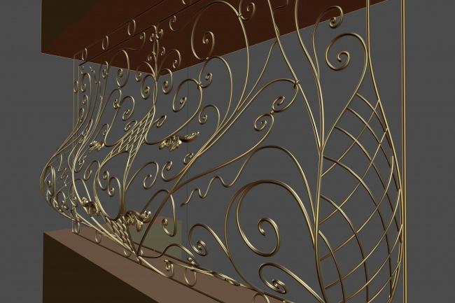 Сделаю 3d модель кованных лестниц, оград, перил, решеток, навесов 21 - kwork.ru