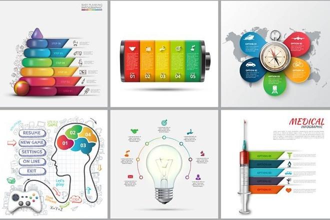 Набор инфографики. 13 тематик, 800 шаблонов, 2 пакета иконок 35 - kwork.ru