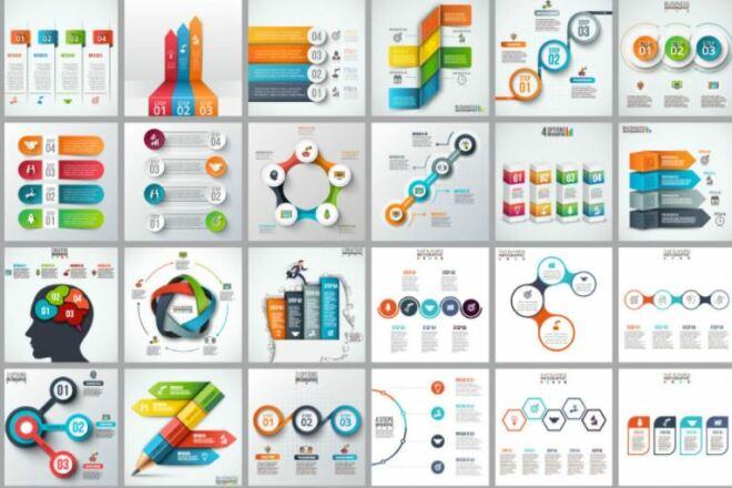 Набор инфографики. 13 тематик, 800 шаблонов, 2 пакета иконок 39 - kwork.ru