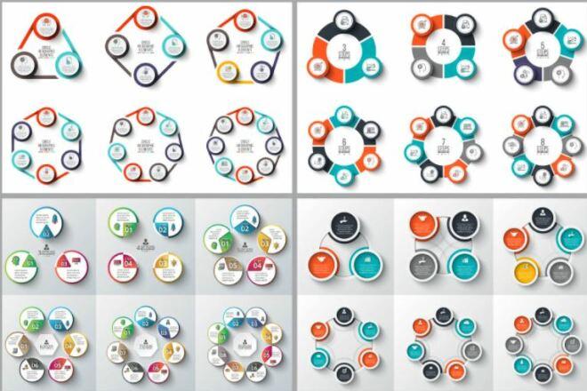 Набор инфографики. 13 тематик, 800 шаблонов, 2 пакета иконок 40 - kwork.ru