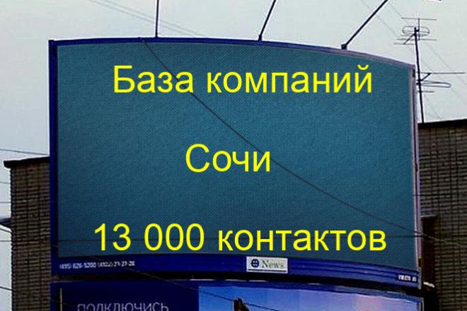 База компаний Сочи 13000 контактов 1 - kwork.ru