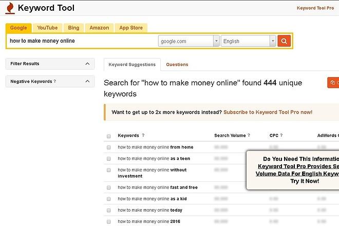 Выгружу релевантные ключевые слова с помощью сервиса keywordtool.io 1 - kwork.ru