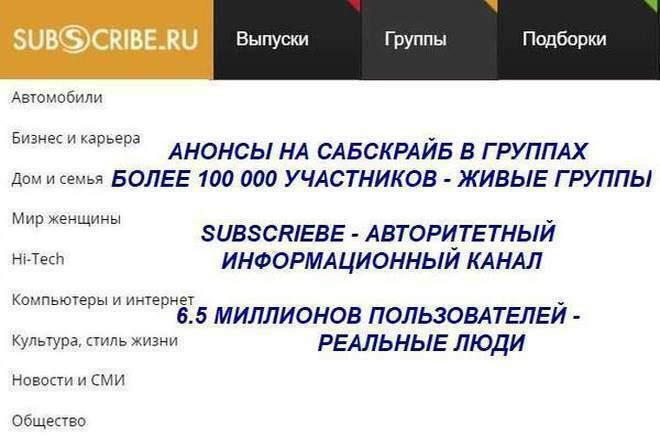 Анонсы в группах subscriebe.ru 1 - kwork.ru