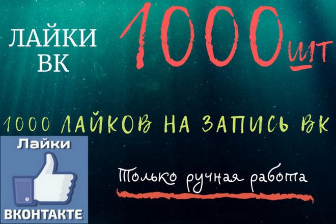 Безопасно 1000 Лайков ВК. Равномерное распределение. Ручная работа 1 - kwork.ru