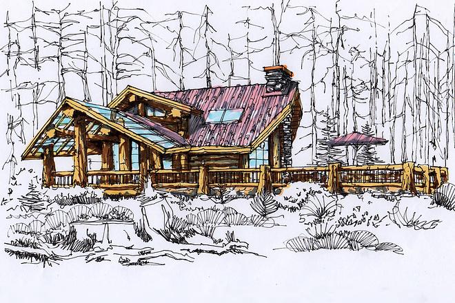 Сделаю ручную визуализацию, эскиз дома 13 - kwork.ru