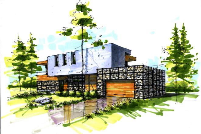 Сделаю ручную визуализацию, эскиз дома 19 - kwork.ru