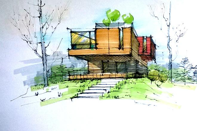 Сделаю ручную визуализацию, эскиз дома 14 - kwork.ru