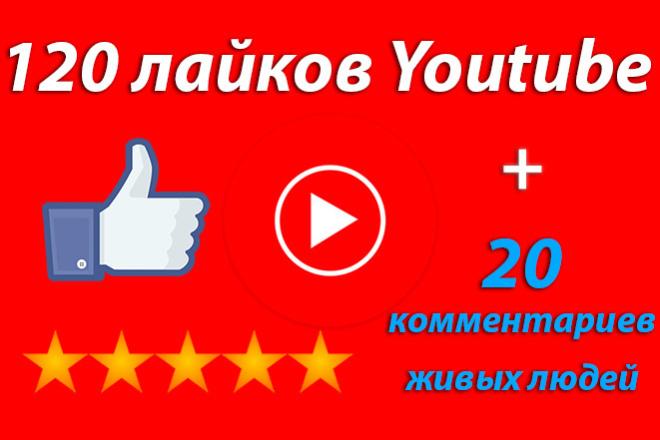 Лайки на видео Youtube 120 + 20 комментариев от живых людей 1 - kwork.ru