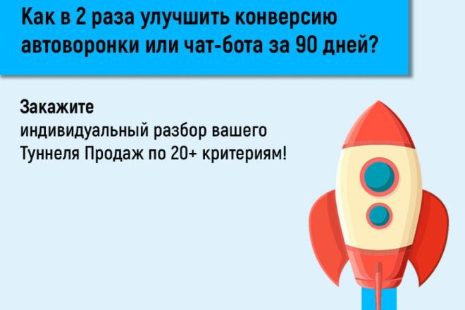 Найду минимум 3 способа повысить конверсию автоворонки или чат-бота 1 - kwork.ru