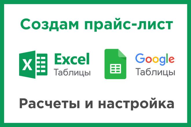 Создам и настрою Прайс лист в Excel или Google таблицах 1 - kwork.ru