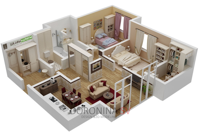 3Д план квартиры или дома 6 - kwork.ru
