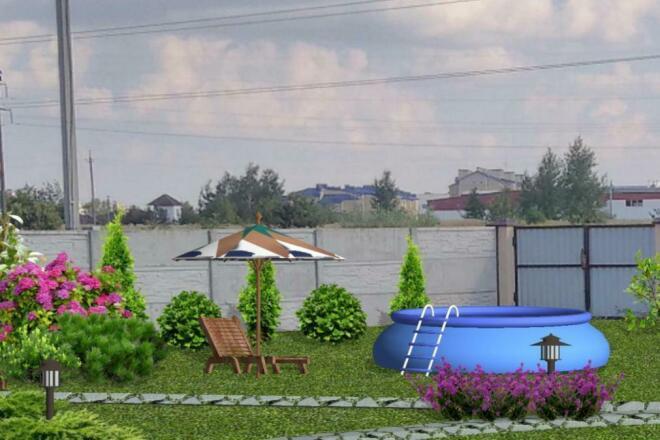 Визуализация благоустройства и озеленения территории, фото-эскиз 17 - kwork.ru