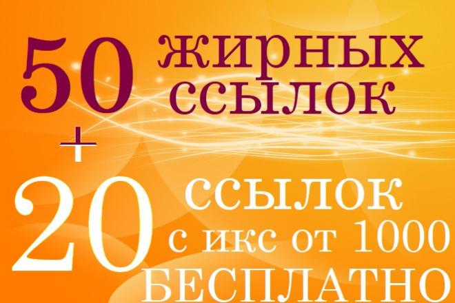 Выгодно. 50 жирных ссылок на ваш сайт и бонус 20 ссылок с ИКС от 1000 1 - kwork.ru