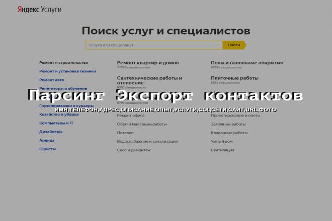 Яндекс Услуги Парсинг контактов с телефонами 1 - kwork.ru