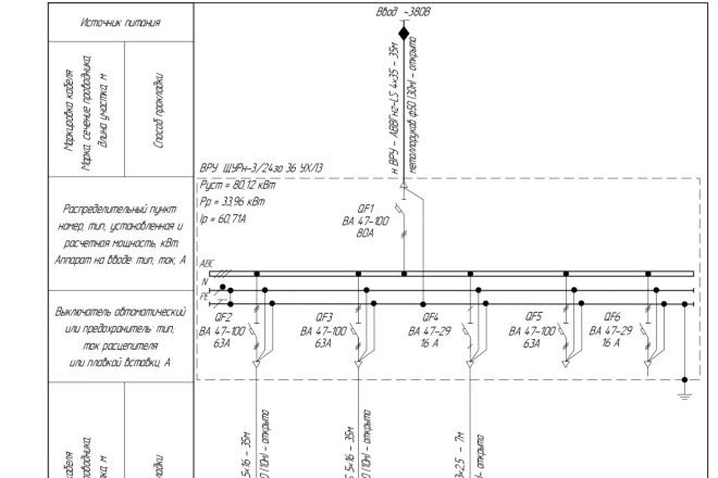 Выполню однолинейную схему электроснабжения 1 - kwork.ru