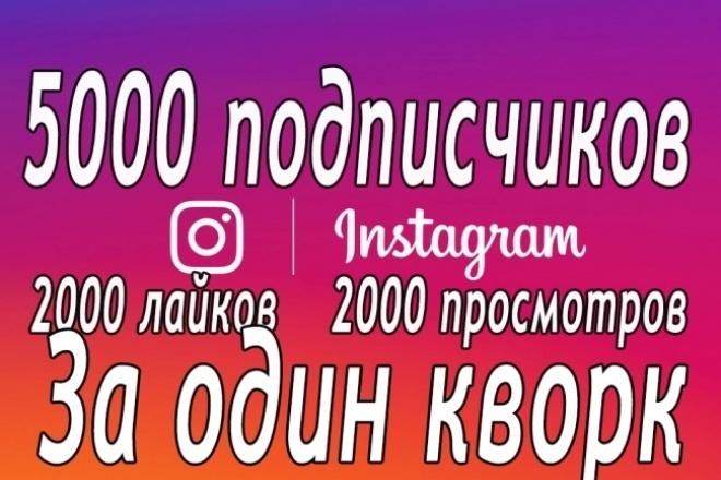 5000 подписчиков в Instagram. Также лайки, просмотры, комментарии 1 - kwork.ru