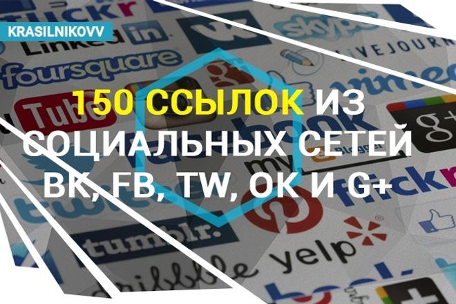 150 ссылок из социальных сетей ВК, FB, TW, OK и G+ 1 - kwork.ru