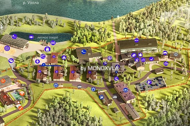 3D визуализация - план базы отдыха, санатория, детского лагеря 2 - kwork.ru