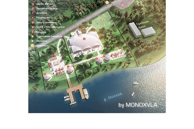 3D визуализация - план базы отдыха, санатория, детского лагеря 3 - kwork.ru