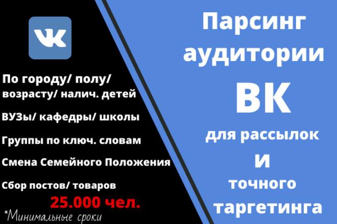 Парсинг и фильтрация целевой аудитории ВКонтакте 1 - kwork.ru