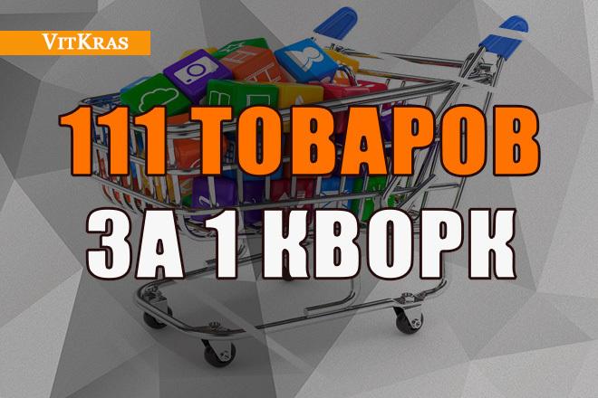 Наполнение, ручное добавление товаров в магазин - 100 позиций 1 - kwork.ru